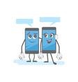 smartphone dialog cartoon gadgets speaking vector image
