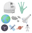 space set icons in cartoon style big collection vector image