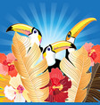 tropical with palm leaves and toucans vector image vector image