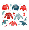 winter and christmas ugly and cute sweaters in vector image vector image