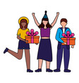 women and man with gift boxes birthday celebration vector image vector image