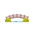 wooden arch bridge walkway across the river vector image vector image