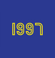 yellow year 1990 text on blue background vector image vector image