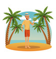 young man in the beach vector image vector image