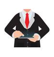 business man holding a digital tablet vector image