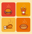fast food square icons vector image
