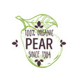 100 percent organic pear label with whole ripe vector image vector image