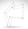 3d mesh monochrome backward arrow isolated on vector image vector image