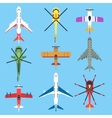Airplane plane helicopter jet top view flat vector image vector image