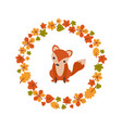 autumn background with cute fox autumn vector image vector image