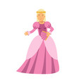 beautiful blonde princess in a pink dress vector image vector image