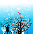 beautiful winter background with trees and vector image vector image