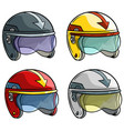 cartoon motorbike racing helmet icon set vector image
