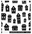cartoon town seamless pattern black and white vector image vector image