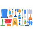 cleaning supplies tools household chemicals vector image vector image