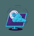 computer and cloud storage vector image