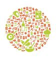 cooking icons in circle vector image vector image
