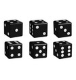 dice black set in 3d view vector image vector image