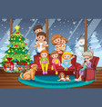 family together on christmas scene vector image