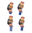 fat boy jumping pogo sprite vector image vector image