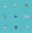 flat icons fence bucket spray bottle and other vector image vector image