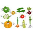 Fresh and tasty cartoon farm vegetables vector image vector image