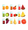 fruit juices set orange apple watermelon kiwi vector image