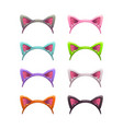 funny cartoon headbands with cat ears vector image
