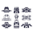gaming logo set video games and cyber sport vector image