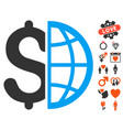 global business icon with valentine bonus vector image
