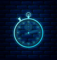 glowing neon classic stopwatch icon isolated on vector image vector image