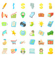 good business icons set cartoon style vector image vector image