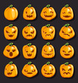 halloween jack o lantern pumpkin scary faces smile vector image vector image