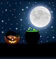 halloween witch potion and cat on evil pumpkin vector image
