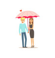 happy couple in love standing together under pink vector image