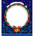 Holly wreath with bells vector image