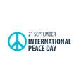 international peace day logo or emblem 21 vector image vector image