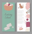 knitting school and arts and crafts set vector image vector image