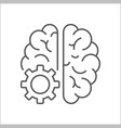 logo icon with brain and gear cog abstract vector image vector image