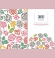 menu cover floral design with pastel roses vector image