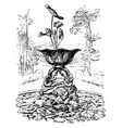 metal fountain is in nelumbo form vintage vector image vector image