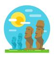 Moai statue flat design landmark vector image vector image