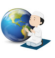 muslim man in white outfit praying vector image