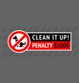 no dog fouling sign modern sticker for city design vector image vector image