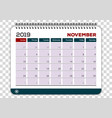 november 2019 calendar planner design template vector image