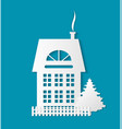 paper cut building with door and windows chimney vector image vector image