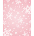 Pink background with white blurred snowflakes vector image vector image