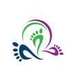 podiatric foot print foot care logo design icon vector image vector image