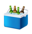 realistic 3d detailed blue handheld refrigerator vector image vector image