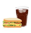 sandwich with ham cheese tomatoes lettuce and vector image